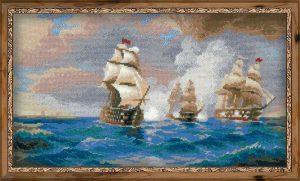 1154 Brig Merkyrii, atakovannii dvymya tyreckimi korablyami po motivam kartini I. Aivazovskogo